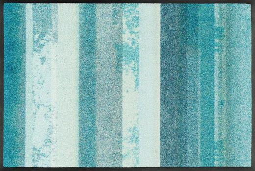 FUßMATTE 50/75 cm Streifen Hellblau, Türkis - Türkis/Hellblau, Kunststoff/Textil (50/75cm) - Esposa