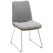 STUHL Grau, Edelstahlfarben, Fango  - Fango/Edelstahlfarben, Design, Textil/Metall (48/87/62cm) - Venjakob
