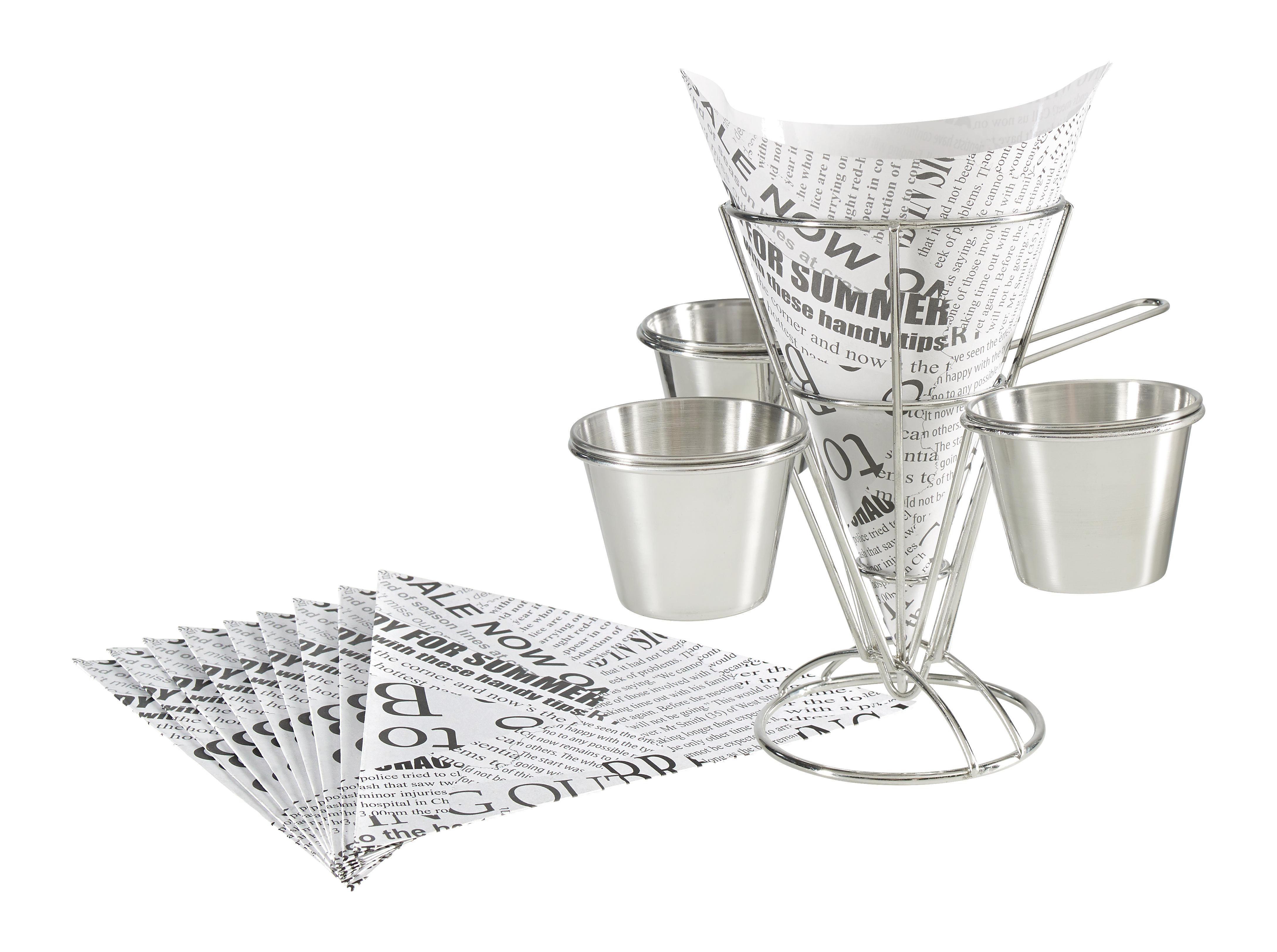 POMMESTÜTE - Edelstahlfarben/Weiß, Basics, Papier/Metall (23,5/24/16,5cm) - HOMEWARE