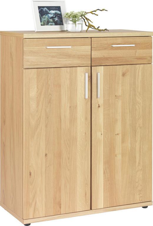 KOMMODE Wildeiche furniert, teilmassiv Eichefarben - Chromfarben/Eichefarben, Design, Holz/Kunststoff (84/107/39cm)