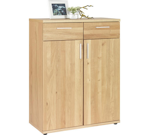 KOMMODE 84/107/39 cm - Chromfarben/Eichefarben, Design, Holz/Kunststoff (84/107/39cm)
