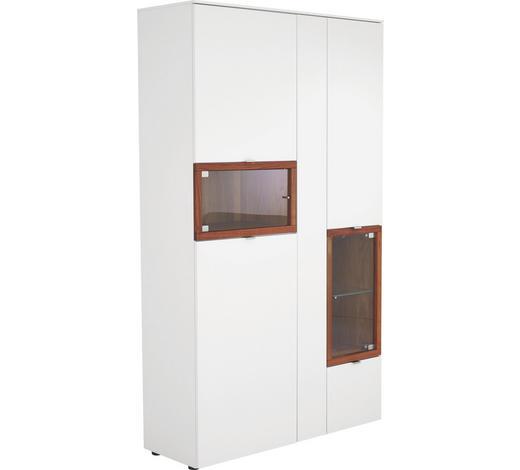 VITRINE Nussbaum massiv Weiß, Nussbaumfarben  - Nussbaumfarben/Alufarben, Design, Glas/Holz (120/207/43cm) - Venjakob