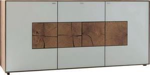 SIDEBOARD Kerneiche vollmassiv matt, lackiert, gebürstet, gewachst Weiß, Eichefarben  - Eichefarben/Weiß, Design, Glas/Holz (175/81/49cm) - Valnatura
