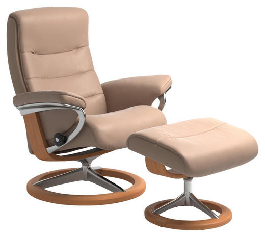 RELAXSESSELSET in Holz, Leder, Metall Creme, Eichefarben - Eichefarben/Creme, Natur, Leder/Holz (84/102/76cm) - Stressless