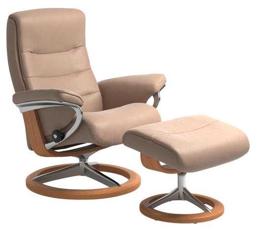 RELAXSESSELSET in Holz, Metall, Leder Creme, Eichefarben - Eichefarben/Creme, Natur, Leder/Holz (84/102/76cm) - Stressless
