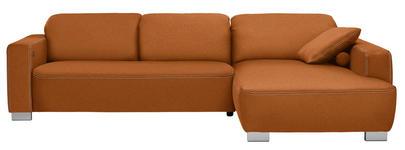 WOHNLANDSCHAFT in Textil Braun, Hellbraun, Rostfarben - Chromfarben/Hellbraun, Design, Holz/Textil (296/195cm) - Hom`in