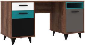 SCHREIBTISCH in Holzwerkstoff 150/74/60 cm  - Eichefarben/Schwarz, Design, Holzwerkstoff/Kunststoff (150/74/60cm) - Carryhome