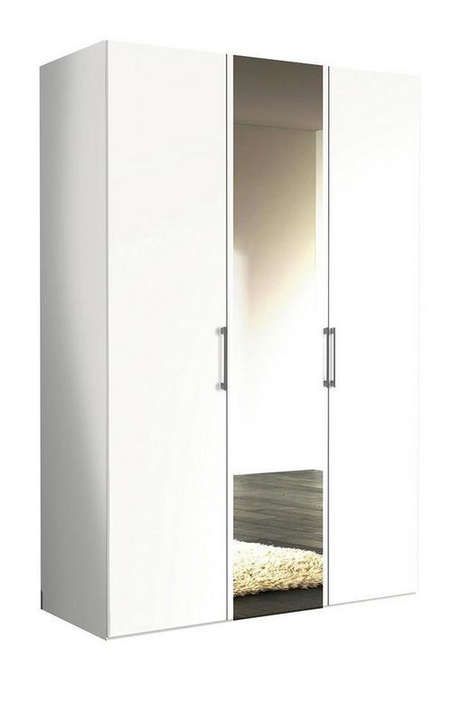 DREHTÜRENSCHRANK 3  -türig Weiß - Alufarben/Weiß, KONVENTIONELL, Glas/Holzwerkstoff (150/216/58cm) - Hom`in