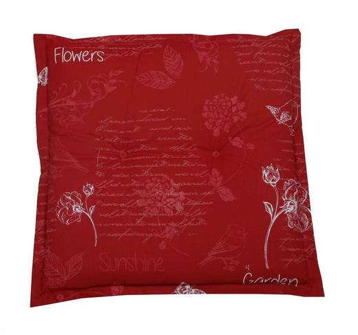 GARTENHOCKERAUFLAGE Floral - Rot, Design, Textil (50/6/50cm)