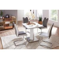 SCHWINGSTUHL Lederlook Grau, Weiß, Chromfarben  - Chromfarben/Weiß, Design, Textil/Metall (44/97/60cm) - Carryhome