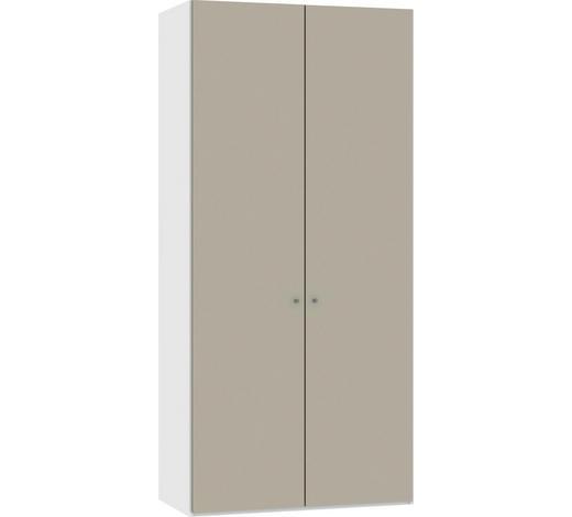 DREHTÜRENSCHRANK in Weiß, Sandfarben - Sandfarben/Silberfarben, Design, Glas/Holzwerkstoff (101,9/220/37,5cm) - Jutzler