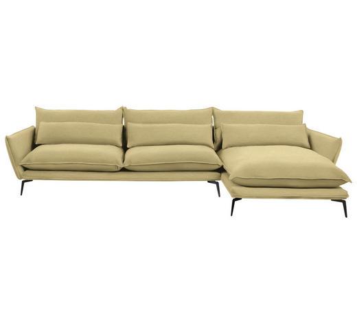 WOHNLANDSCHAFT in Textil Gelb - Gelb/Schwarz, Design, Textil/Metall (338/165cm) - Hom`in