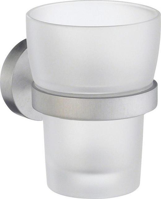 ZAHNPUTZBECHER - Chromfarben, Basics, Glas/Metall (7,5/9,8cm)