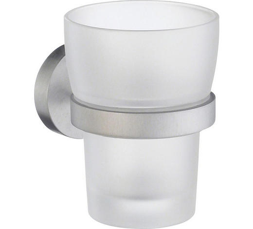ZAHNPUTZBECHER Metall, Glas - Chromfarben, Basics, Glas/Metall (7,5/9,8cm)