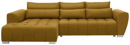 WOHNLANDSCHAFT in Textil Gelb  - Gelb/Silberfarben, MODERN, Kunststoff/Textil (218/304cm) - Carryhome