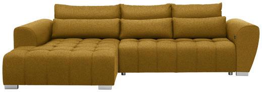 WOHNLANDSCHAFT in Textil Gelb - Gelb/Silberfarben, MODERN, Kunststoff/Textil (218/304/cm) - Carryhome