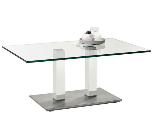 COUCHTISCH in Metall, Glas 110/70/46-65 cm - Edelstahlfarben/Weiß, Design, Glas/Kunststoff (110/70/46-65cm)