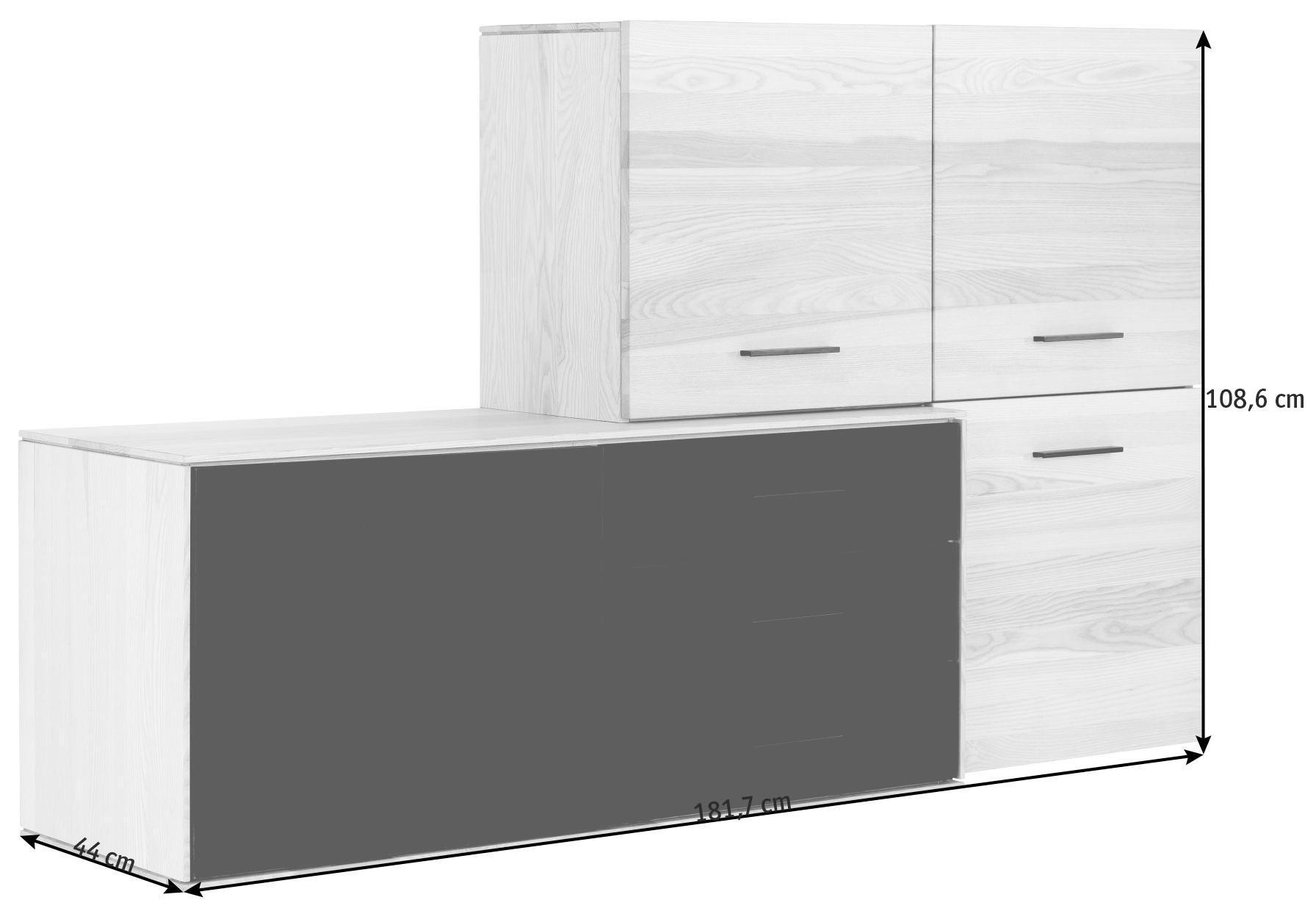 KOMMODE in massiv Kernesche Dunkelbraun, Eschefarben - Dunkelbraun/Eschefarben, Design, Glas/Holz (181,7/108,6/44cm)