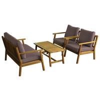 LOUNGEGARNITUR 10-teilig - Taupe/Akaziefarben, Design, Holz/Textil - Ambia Garden