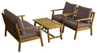 LOUNGEGARNITUR Akazie massiv - Taupe/Akaziefarben, Design, Holz/Textil - Ambia Garden