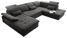 WOHNLANDSCHAFT in Textil, Holzwerkstoff Dunkelgrau  - Dunkelgrau/Silberfarben, KONVENTIONELL, Holzwerkstoff/Kunststoff (188/340/240cm) - Carryhome