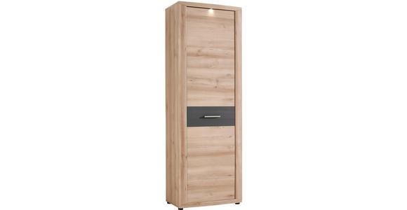 GARDEROBENSCHRANK 68/201/40 cm  - Dunkelgrau/Buchefarben, KONVENTIONELL, Holzwerkstoff/Metall (68/201/40cm) - Voleo