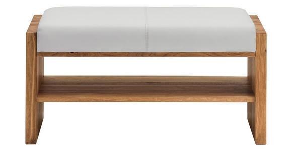 GARDEROBENBANK Echtleder Asteiche massiv Weiß, Eichefarben  - Eichefarben/Weiß, MODERN, Leder/Holz (88/44/42cm) - Linea Natura