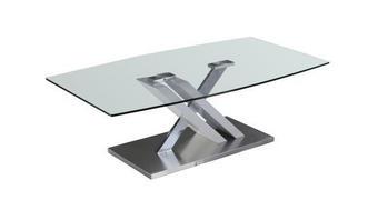 KLUBSKA MIZA, bela, krom - bela/krom, Design, kovina/steklo (120/70/40cm) - Xora