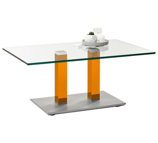 COUCHTISCH in Metall, Glas 110/70/46-65 cm - Edelstahlfarben/Gelb, Design, Glas/Kunststoff (110/70/46-65cm)