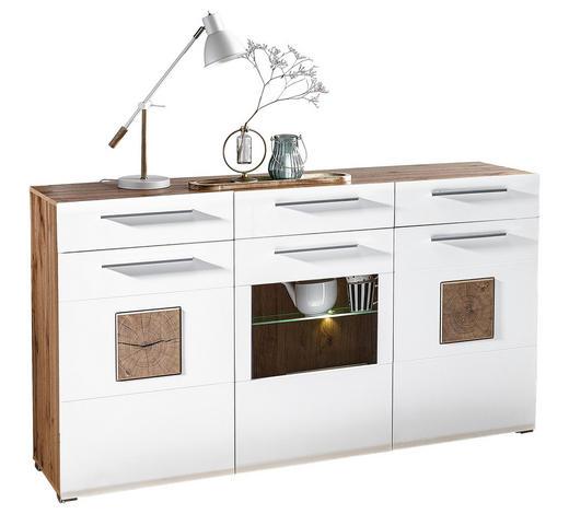 PŘÍBORNÍK/KOMODA, bílá, barvy dubu - bílá/barvy dubu, Konvenční, dřevo/kompozitní dřevo (180/98/43cm) - Hom`in