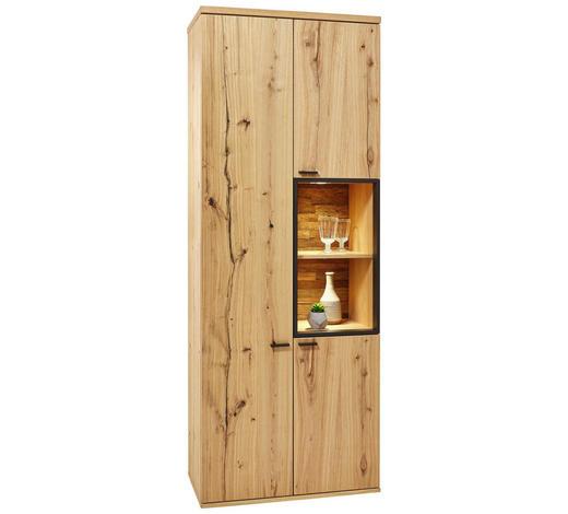VITRÍNA, barvy dubu - barvy dubu/černá, Konvenční, kov/dřevo (80/212/43cm) - Venjakob