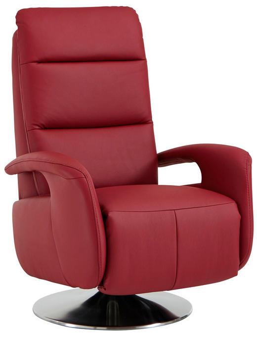 RELAXSESSEL in Leder Rot - Edelstahlfarben/Rot, Design, Leder/Metall (84/88/110cm) - Beldomo Premium
