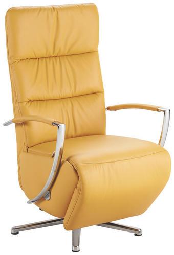 RELAXAČNÍ KŘESLO - barvy chromu/žlutá, Design, kov/kůže (64/112/80cm) - Cantus