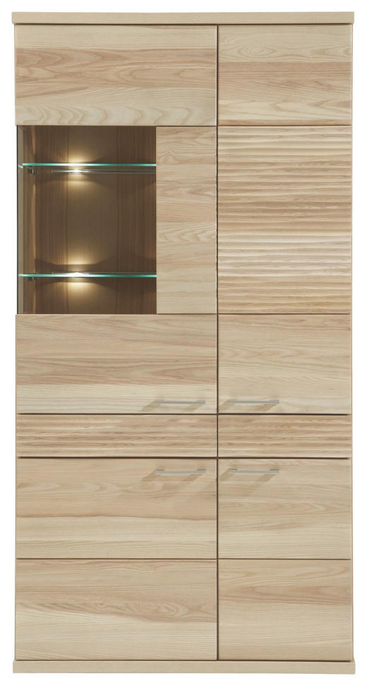 VITRINE Kernesche massiv Eschefarben - Eschefarben/Alufarben, Design, Glas/Holz (101/197/41cm) - Venda