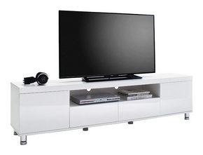 MEDIABÄNK - vit/kromfärg, Design, metall/träbaserade material (190/47/40cm) - Xora