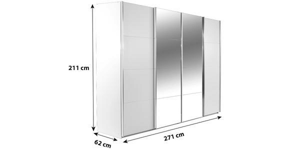 Schwebetürenschrank Bensheim B:271cm Alpinweiß/ Spiegel - Weiß, MODERN, Holzwerkstoff (271/211/62cm) - James Wood