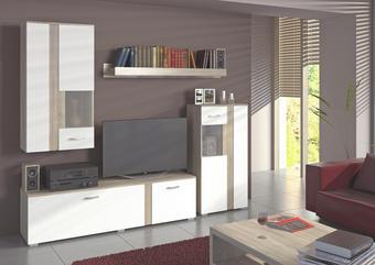 REGAL ZA DNEVNI BORAVAK - bijela/hrast Sonoma, Design, drvni materijal/metal (225/200/38cm) - TI`ME