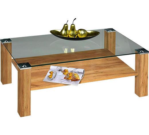 COUCHTISCH in Metall, Glas, Holzwerkstoff 110/70/42 cm - Eichefarben, Design, Glas/Holzwerkstoff (110/70/42cm)
