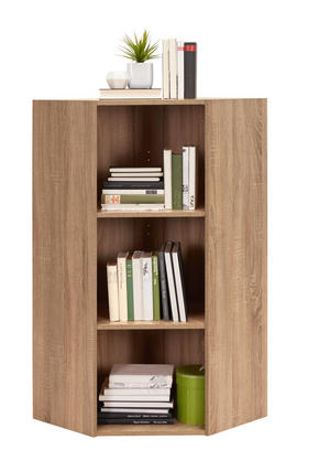 HÖRNHYLLA - Sonoma ek/svart, Design, träbaserade material/plast (59,5/115,2/59,5cm) - Carryhome