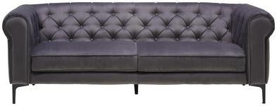 DREISITZER-SOFA in Textil Grau  - Schwarz/Grau, Trend, Textil/Metall (220/75/90cm) - Carryhome