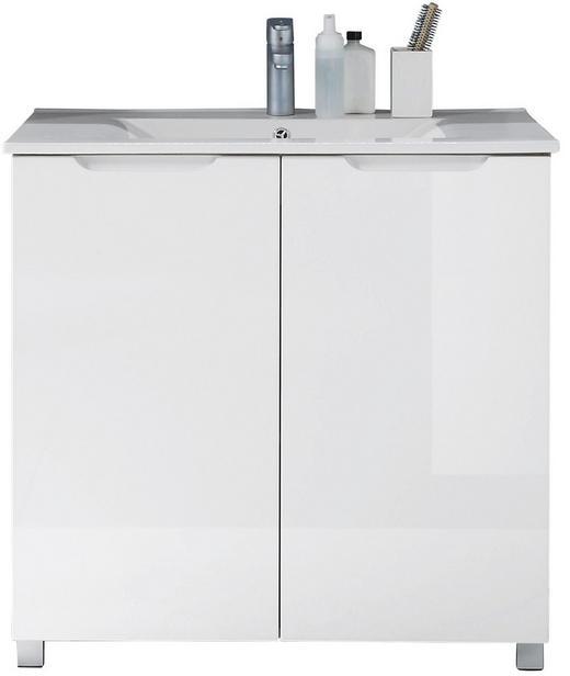 WASCHTISCHKOMBI Weiß - Eichefarben/Silberfarben, Design, Keramik/Holzwerkstoff (83/84/47cm) - Xora
