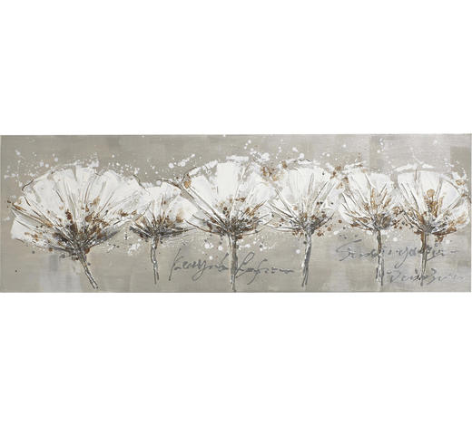 Blumen BILD  - Weiß, LIFESTYLE, Holz/Textil (150/50/3,8cm) - Monee