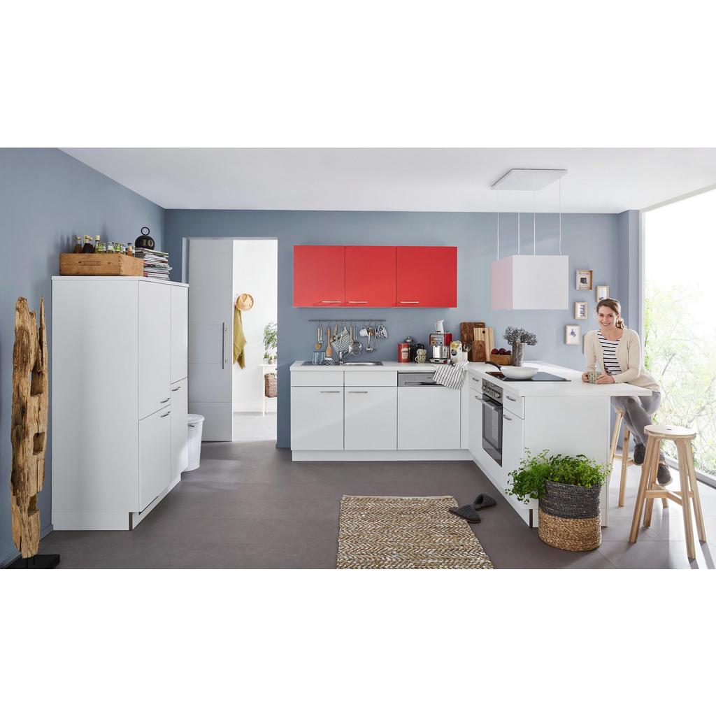 Rohová Kuchyň Welnova - červená bílá