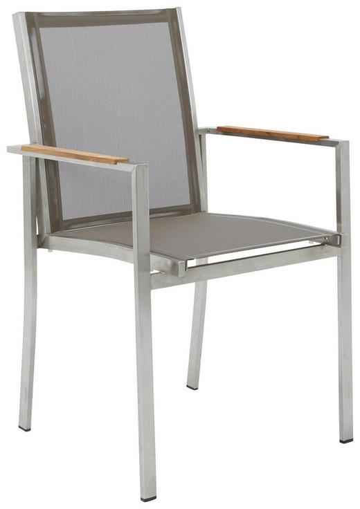 STAPELSESSEL - Silberfarben/Teakfarben, Design, Holz/Textil (58/91/49cm)
