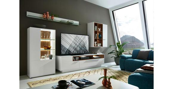 TV-ELEMENT 215/57/52 cm - Chromfarben/Eichefarben, Design, Holzwerkstoff/Metall (215/57/52cm) - Hom`in