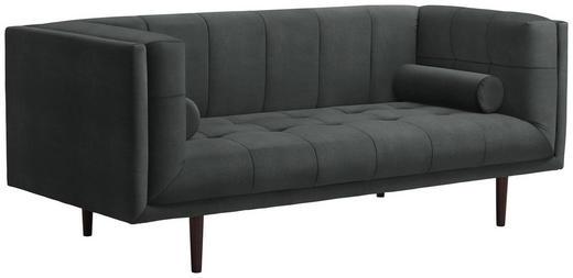 SOFA in Textil Dunkelgrau - Dunkelgrau/Dunkelbraun, Design, Holz/Textil (200/80/87cm) - Carryhome