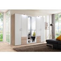 KLEIDERSCHRANK in Weiß, Eichefarben  - Eichefarben/Silberfarben, Design, Glas/Holzwerkstoff (270/210/58cm) - Carryhome