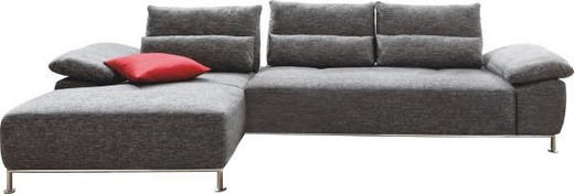 Ecksofa Chenille Nierenkissen - Chromfarben/Graphitfarben, Design, Textil/Metall (316/168cm) - Musterring