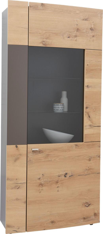 VITRINE in furniert Balkeneiche Braun, Eichefarben - Edelstahlfarben/Eichefarben, Design, Glas/Holz (94/208/33-41cm) - Dieter Knoll
