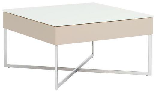 COUCHTISCH quadratisch Sandfarben, Weiß - Sandfarben/Weiß, Design, Glas/Metall (70/38/70cm)